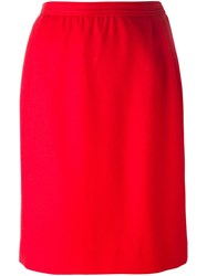 Yves Saint Laurent Vintage Knee Length Skirt Red