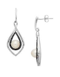 Lord And Taylor Sterling Silver Pearl Black Diamond Drop Earrings
