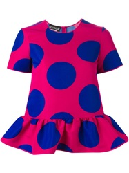 Boutique Moschino Polka Dot Peplum Top Pink And Purple