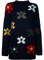 Dondup Flower Intarsia Jumper Blue