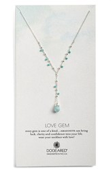 Women's Dogeared 'Love Gem' Semiprecious Stone Y Necklace Turquoise Silver