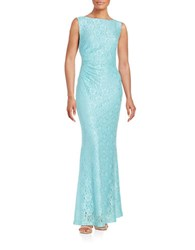 Ellen Tracy Cowl Back Lace Gown Ice Blue