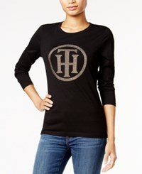 Tommy Hilfiger Embellished Graphic Top Only At Macy's Black Gold
