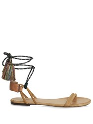 Isabel Marant Astrid Tassel Wraparound Rope Sandals Tan