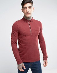 Boss Orange By Hugo Long Sleeve Marl Polo Shirt Red