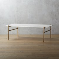 Cb2 Slab Marble Coffee Table With Brass Base