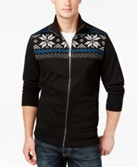 Club Room Sherpa Lined Full Zip Mock Neck Sweater Only At Macy's Deep Black