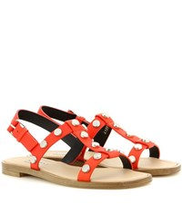Balenciaga Embellished Leather Sandals Red