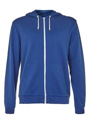 Topman Navy And Off White Zip Through Hoodie Blue