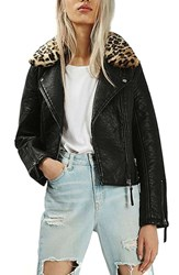 Topshop Women's Faux Leather Jacket With Faux Leopard Fur Collar