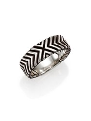 John Hardy Bedeg Sterling Silver Triangle Pattern Band Ring