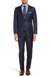 Hickey Freeman Men's Big And Tall Classic Fit Plaid Wool Suit Navy