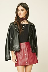 Forever 21 Button Faux Leather Mini Skirt