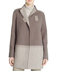 Lafayette 148 New York Valina Color Block Wool Coat Concrete