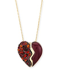 Crystal Broken Heart Pendant Necklace Black Cherry Alexis Bittar
