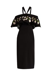 Temperley London Lyra Off The Shoulder Embroidered Dress Black Print