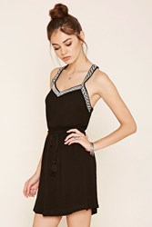 Forever 21 Geo Embroidered Peasant Dress