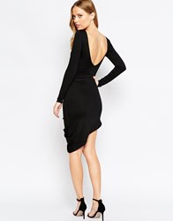 Asos Low Back Crepe Drape Wrap Mini Dress Black