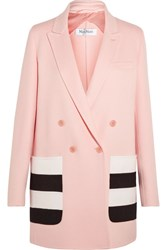 Max Mara Striped Wool And Angora Blend Felt Blazer Pink