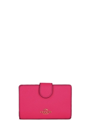 Coach Fuchsia Grained Leather Wallet Pink