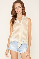 Forever 21 Lace Panel Striped Shirt
