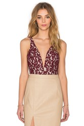 Bardot Julia Lace Bodysuit Burgundy