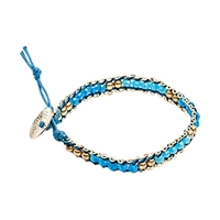 One Button Glass Bead Friendship Bracelet Blue