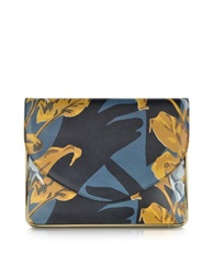 Carven Saint Sulpice Multicolor Printed Leather Clutch W Metal Detail