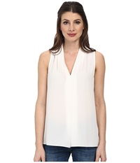 Vince Camuto Sleeveless V Neck Blouse W Inverted Front Pleat New Ivory Women's Blouse Bone