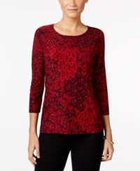 Jm Collection Printed Jacquard Top Only At Macy's Red Feather