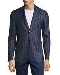 Etro Geometric Jacquard Sport Jacket Blue Light Blue