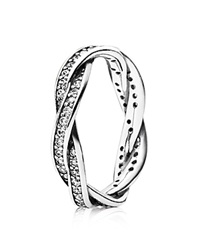 Pandora Design Pandora Ring Sterling Silver And Cubic Zirconia Twist Of Fate Silver Clear