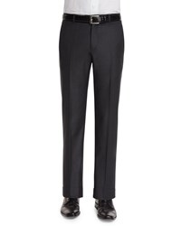 Neiman Marcus Classic Flat Front Wool Trousers Charcoal Grey