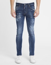 Dsquared Blue Stone Washed Patched Skinny Jeans