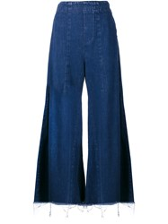 Chloe Acid Wash Flared Jeans Blue Denim