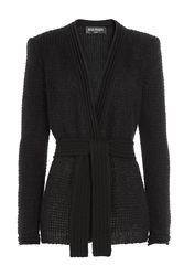 Balmain Mohair Wool Tailored Cardigan Black
