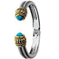 Adele Marie Antique Turquoise Hinged Bangle Silver Multi