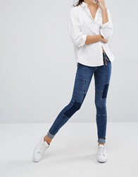 Vero Moda Patchwork Jeans Med Blue Denim