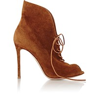 Gianvito Rossi Women's Suede Jane Ankle Booties Brown