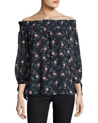 English Factory Floral Off The Shoulder Top Blue Pattern