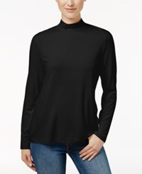 Charter Club Mock Neck Long Sleeve Top Only At Macy's Deep Black