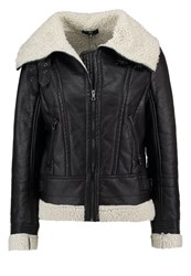 Missguided Faux Leather Jacket Washed Black