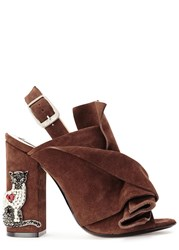 No.21 Burgundy Crystal Cat Suede Sandals