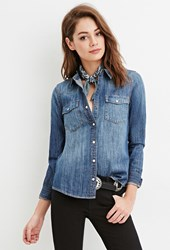 Forever 21 Snap Buttoned Denim Shirt