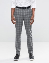 Asos Slim Suit Trousers In Grey With Charcoal Check Grey