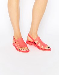 Melissa Bohemia Strappy Flat Sandals Coral Pop Pink