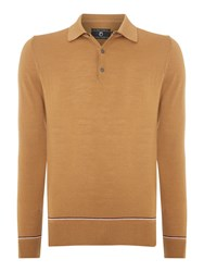 Peter Werth 1975 Merino Tipped Knitted Polo Shirt Tan