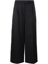 Osman Embroidered Trim Culottes Black