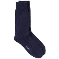 Blue Blue Japan Jacquard Check Sock Blue