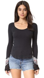 Free People Bandana Cuff Top Black